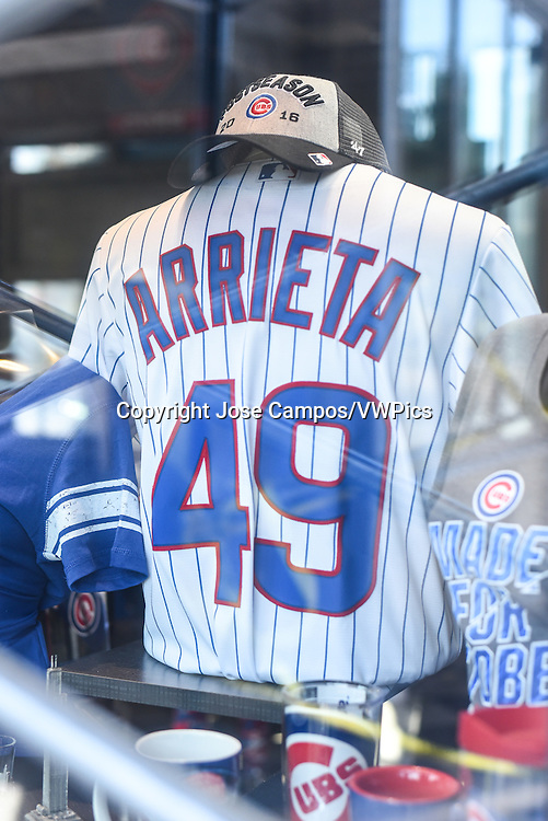 Chicago Cubs pitcher, Jake Arrieta, sports shirt in display in Chicago, Illinois.