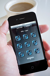 Detail of iPIN security log-in application on an iPhone 4g smart phone