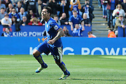 Leicester City forward Leonardo Ulloa (23) scores a goal and celebrates to make the score 2-2 during the Barclays Premier League match between Leicester City and West Ham United at the King Power Stadium, Leicester, England on 17 April 2016. Photo by Simon Davies.