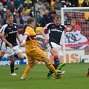 Dundee's Paul McGowan and Motherwell's Steven Hammell- Motherwell v Dundee, Fir Park, Motherwell, Photo: David Young<br /> <br />  - © David Young - www.davidyoungphoto.co.uk - email: davidyoungphoto@gmail.com