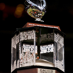 December 22, 2012; New Orleans, LA, USA; A detailed view of the New Orleans Bowl Trophy following the New Orleans Bowl between the Louisiana-Lafayette Ragin Cajuns and the East Carolina Pirates at the Mercedes-Benz Superdome. UL-Lafayette defeated East Carolina 43-34. Mandatory Credit: Derick E. Hingle-USA TODAY Sports
