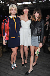 Left to right, PIXIE GELDOF, DAISY LOWE and ALEXA CHUNG at Tunnel of Love - a fashion & art party in aid of The British Heart Foundation held at The Proud Gallery, Camden, London on 29th May 2012.