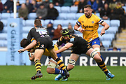 Wasps flyhalf Jimmy Gopperth (12) and Wasps lock James Gaskell (4) coming in the tackle during the Gallagher Premiership Rugby match between Wasps and Bath Rugby at the Ricoh Arena, Coventry, England on 2 November 2019.