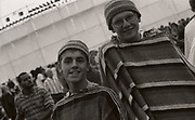 Boys wrapped in blankets at the first outdoor rave up North, The Gio Goi Joy Rave run by Anthony and Chris Donnelly, Ashworth Valley, Rochdale, 5th August 1989.