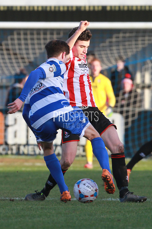 Julian Lafuente and Sam Mendes during the FA Trophy match between Oxford City and Cheltenham Town at Court Place Farm, Oxford, United Kingdom on 16 January 2016. Photo by Antony Thompson.