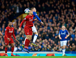 LIVERPOOL, ENGLAND - Sunday, March 3, 2019: Liverpool's Fabio Henrique Tavares 'Fabinho' challenges Everton's Gylfi Sigurdsson during the FA Premier League match between Everton FC and Liverpool FC, the 233rd Merseyside Derby, at Goodison Park. (Pic by Paul Greenwood/Propaganda)