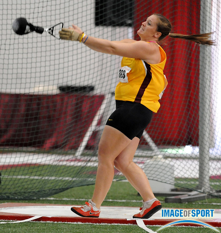Mar 14, 2008; Fayetteville, AR, USA; Sarah Stevens of Arizona State was ninth in the women's weight throw at 66-8 (20.32m) in the NCAA indoor track and field championships at the Randal Tyson Center.