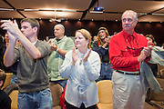 """Dec. 5, 2009 -- TEMPE, AZ: People applaud for Rep. Ron Paul (R-TX) at the Arizona Campaign for Liberty Convention in the Memorial Union building on the Arizona State University campus in Tempe, AZ, Saturday. Rep. Paul is in the Phoenix, AZ, area over the weekend making speeches and signing his book, """"End the Fed."""" Saturday morning he spoke at the first annual """"Arizona Campaign for Liberty Convention."""" Most of the attendees supported Rep. Paul during his run for the Republican nomination for US President in 2008.   Photo by Jack Kurtz"""