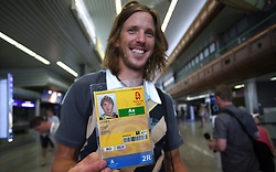 Luka Spik with an accreditation , Member of Slovenian Rowing Olympic Team at departure to Beijing 2008 Olympic games, on July 31, 2008, at Airport Jozeta Pucnika, Brnik, Slovenia. (Photo by Vid Ponikvar / Sportal Images)/ Sportida)