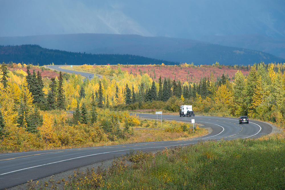 A twisting road cuts through a sea of fall trees going through a stunning seasonal change.