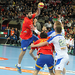 during the semifinal match of IHF World Championship Spain 2013 between Spain and Slovenia at Pabellon Principe Felipe Arena on January 25, 2013 in Barcelona, Spain. (Photo by Joma  Garcia / Sportida.com)