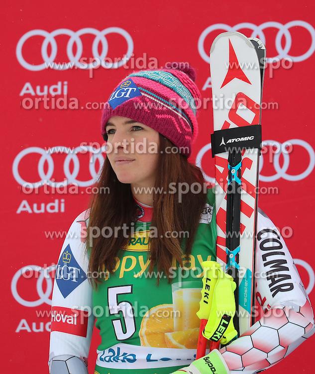 04.12.2016, Lake Louise, USA, FIS Weltcup Ski Alpin, Lake Louise, Super G, Damen, Siegerpr&auml;sentation, im Bild Tina Weirather (LIE, 2. Platz) // second placed Tina Weirather of Liechtenstein during the winner presentation for the women's SuperG of the Lake Louise FIS Ski Alpine World Cup at the Lake Louise, United States on 2016/12/04. EXPA Pictures &copy; 2016, PhotoCredit: EXPA/ SM<br /> <br /> *****ATTENTION - OUT of GER*****