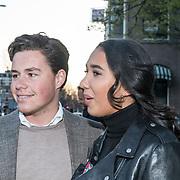 NLD/Amsterdam/20190401 -  Opening Burgerroom Gordon , Joelle Gullit met haar vriendje