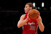 25 February 2011: Forward Blake Griffin of the Los Angeles Clippers looks to pass the ball while playing against the Los Angeles Lakers during the first half of the Lakers 108-95 victory over the Clippers at the STAPLES Center in Los Angeles, CA.