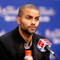Jun 13, 2013; San Antonio, TX, USA; San Antonio Spurs point guard Tony Parker addresses the media during a press conference after game four of the 2013 NBA Finals against the Miami Heat at the AT&T Center. The Miami Heat defeated the San Antonio Spurs 109-93. Mandatory Credit: Derick E. Hingle-USA TODAY Sports
