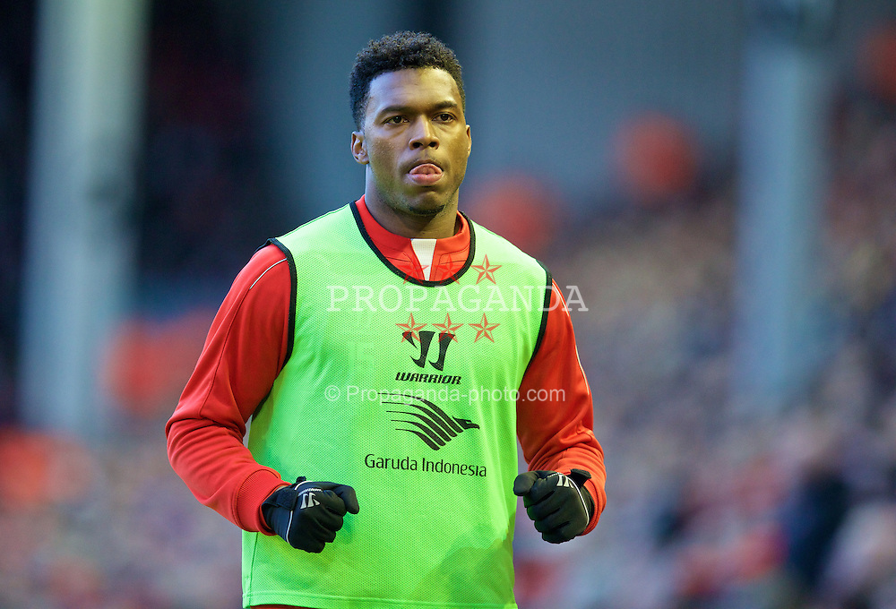 LIVERPOOL, ENGLAND - Saturday, January 31, 2015: Liverpool's substitute Daniel Sturridge warms-up during the Premier League match against West Ham United at Anfield. (Pic by David Rawcliffe/Propaganda)