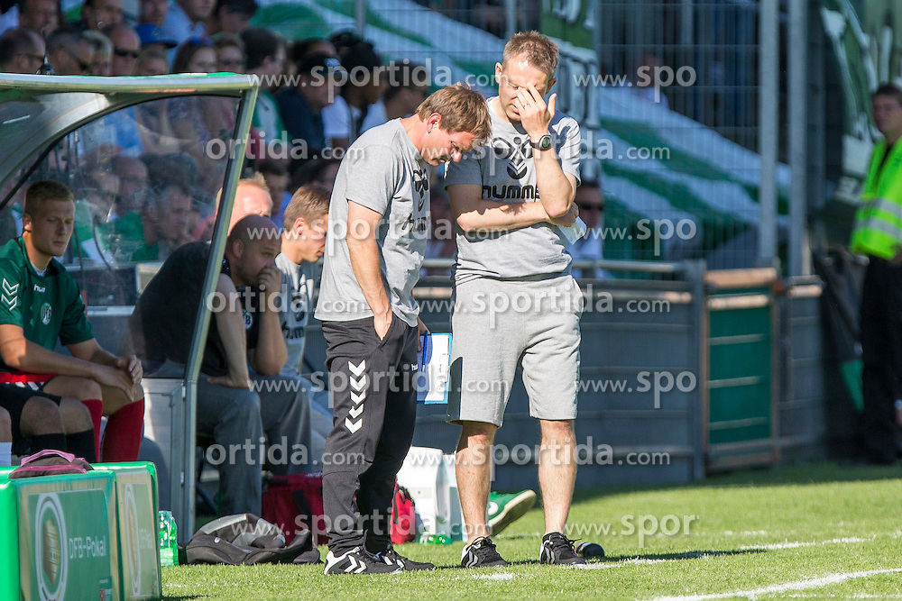 09.08.2015, Stadion Lohmühle, Luebeck, GER, DFB Pokal, VfB Luebeck vs SC Paderborn 07, 1. Runde, im Bild Luebecks Trainer Denny Skwierczynski und Luebecks Co-Trainer Henning Meins // during German DFB Pokal first round match between VfB Luebeck vs SC Paderborn 07 at the Stadion Lohmühle in Luebeck, Germany on 2015/08/09. EXPA Pictures © 2015, PhotoCredit: EXPA/ Eibner-Pressefoto/ KOENIG<br /> <br /> *****ATTENTION - OUT of GER*****