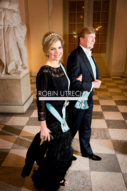 15-4-2015 - COPENHAGEN - Queen Maxima And King Willem Alexander at the Christiansborg Palace for a diner  , attent the 75 th Birthday celebration of of Queen Margrethe II . COPYRIGHT ROBIN UTRECHT