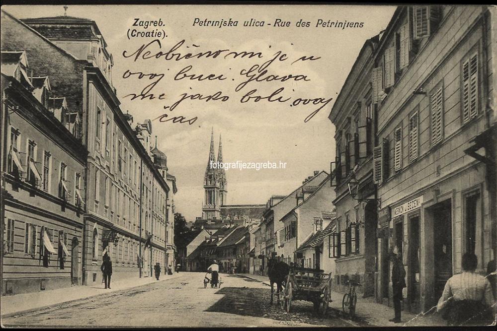 Zagreb (Croatie) : Petrinjska ulica = Rue des Petrinjiens. <br /> <br /> ImpresumZagreb : Naklada papirnica A. Brusina, 1906.<br /> Materijalni opis1 razglednica : tisak ; 9 x 13,8 cm.<br /> NakladnikTiskara A. Brusina<br /> Mjesto izdavanjaZagreb<br /> Vrstavizualna građa • razglednice<br /> ZbirkaGrafička zbirka NSK • Zbirka razglednica<br /> Formatimage/jpeg<br /> PredmetZagreb –– Petrinjska<br /> SignaturaRZG-PETR-1<br /> Obuhvat(vremenski)20. stoljeće<br /> NapomenaRazglednica je putovala 1908. godine.<br /> PravaJavno dobro<br /> Identifikatori000954548<br /> NBN.HRNBN: urn:nbn:hr:238:001652 <br /> <br /> Izvor: Digitalne zbirke Nacionalne i sveučilišne knjižnice u Zagrebu