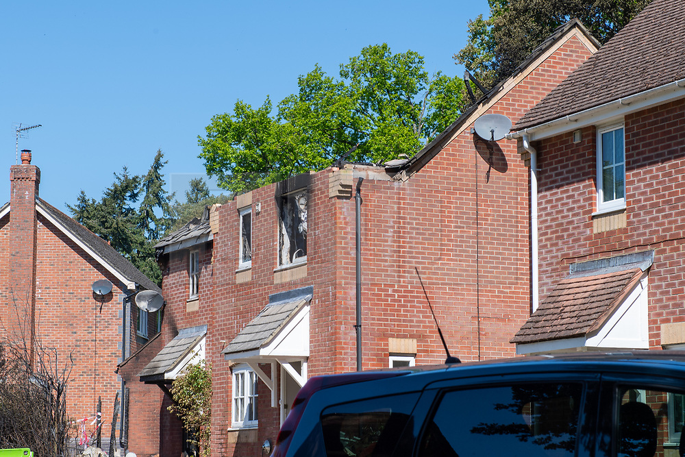 © Licensed to London News Pictures. 06/05/2020. Woolton Hill, UK. The roof and a blackened window of the destroyed houses. A fire has destroyed two houses on Woolton Lodge Gardens, Woolton Hill in Hampshire. The fire started approximately 20:10 BST on Tuesday 05/05/2020. Photo credit: Peter Manning/LNP