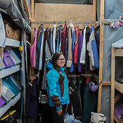 Helena, a young spanish volounteer of the Swedish NGO Lighthouse Relief, inside the refugee camp created by LH Relief in front of the beach