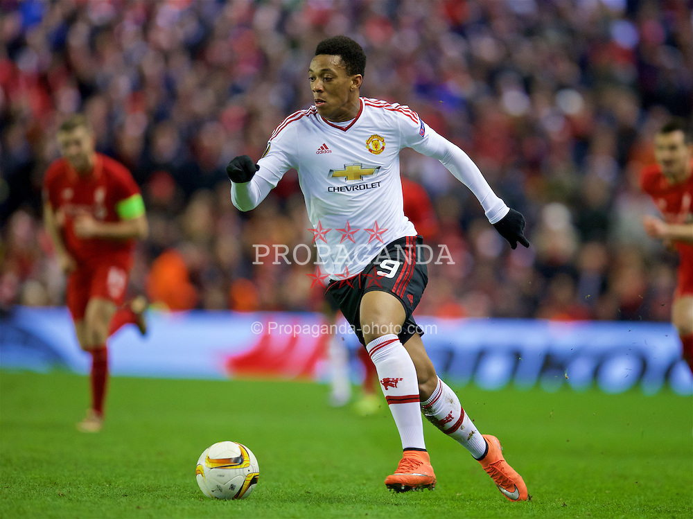 LIVERPOOL, ENGLAND - Thursday, March 10, 2016: Manchester United's Anthony Martial in action against Liverpool during the UEFA Europa League Round of 16 1st Leg match at Anfield. (Pic by David Rawcliffe/Propaganda)