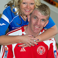 Brechin City v St Johnstone Scottish Cup Quarter final preview...Divided loyalties, ex-saintees legend JIm Weir now manager at Brechin pictured with his wife Susan who still works for St Johnstone.<br /> see story by Gordon Bannerman Tel: 07729 865788<br /> Picture by Graeme Hart.<br /> Copyright Perthshire Picture Agency<br /> Tel: 01738 623350  Mobile: 07990 594431