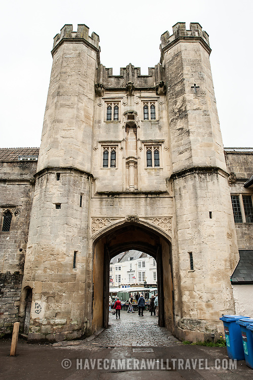 Looking out through the main gate tower of  Bishop Palace in Wells, Somerset, England, toward Market Place.