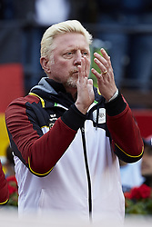 April 7, 2018 - Valencia, Valencia, Spain - Boris Becker former tennis player of Germany celebrates a point during the doubles match between Tim Putz and Jan-Lennard Struff  of Germany against Feliciano Lopez and Marc Lopez of Spain during day two of the Davis Cup World Group Quarter Finals match between Spain and Germany at Plaza de Toros de Valencia on April 7, 2018 in Valencia, Spain  (Credit Image: © David Aliaga/NurPhoto via ZUMA Press)