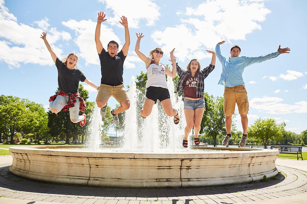 Activity; Socializing; Buildings; Downtown; Location; Outside; People; Woman Women; Man Men; Student Students; Summer; June; Time/Weather; day; Type of Photography; Candid; Lifestyle; UWL UW-L UW-La Crosse University of Wisconsin-La Crosse; Riverside Park; Diversity waterfountain