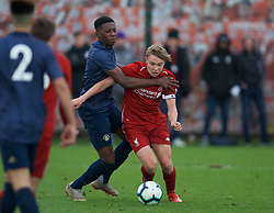 KIRKBY, ENGLAND - Saturday, January 26, 2019: Liverpool's captain Paul Glatzel is fouled for a penalty during the FA Premier League match between Liverpool FC and Manchester United FC at The Academy. (Pic by David Rawcliffe/Propaganda)