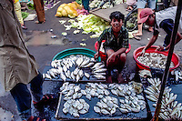 West Sumatra, Padang. Small fish for sale. Padang market, Pasar Raya.