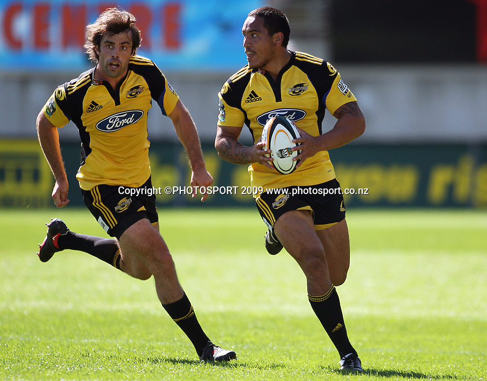 Hosea Gear (right) runs with Conrad Smith in support.<br /> Super 14 rugby union match, Hurricanes v Cheetahs at Yarrows Stadium, New Plymouth, New Zealand. Saturday 7 March 2009. Photo: Dave Lintott/PHOTOSPORT