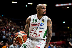 April 29, 2018 - Milan, Milan, Italy - Jordan Theodore (#25 EA7 Emporio Armani Milano) looks for a pass during a basketball game of Poste Mobile Lega Basket A between  EA7 Emporio Armani Milano vs VL Pesaro at Mediolanum Forum, in Milan, Italy, on April 29, 2018. (Credit Image: © Roberto Finizio/NurPhoto via ZUMA Press)