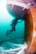 """Israel, Hadera, underwater photography of the installation work of the offshore suction head for the desalinization plant. The facility will produce 127 Million m3 per a year and will be operated in the """"reveres osmosis"""" technique."""