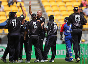 The Black Caps celebrate Chris Martin's taking the wicket of Ian Bell.<br /> One-day International Cricket Match. New Zealand v England. Westpac Stadium, Wellington, New Zealand. Saturday 9 January 2008. Photo: Dave Lintott/PHOTOSPORT