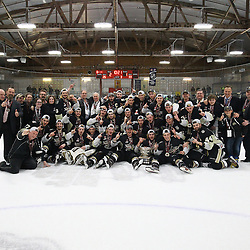 TRENTON, ON  - MAY 6,  2017: Canadian Junior Hockey League, Central Canadian Jr. &quot;A&quot; Championship. The Dudley Hewitt Cup Championship Game between Trenton Golden Hawks and Georgetown Raiders.  The 2017 Dudley Hewitt Cup Champions:  Trenton Golden Hawks.<br /> (Photo by Alex D'Addese / OJHL Images)