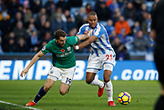 West Bromwich Albion's Jay Rodriguez  and Huddersfield Town's Mathias Zanka Jørgensen  during the Premier League match between Huddersfield Town and West Bromwich Albion at the John Smiths Stadium, Huddersfield, England on 4 November 2017. Photo by Paul Thompson.