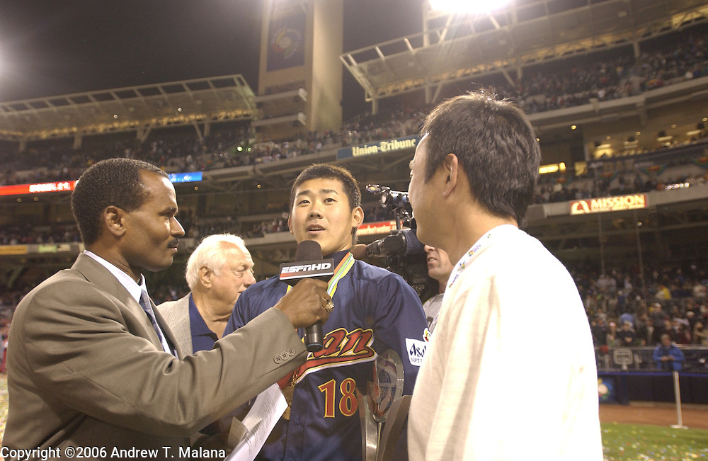 Team Japan starter Daisuke Matsuzaka is being interviewed after being named MVP of the World Baseball Classic at PETCO Park, San Diego, CA.