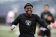 Aug 22, 2019; Winnipeg, Manitoba, CAN; Oakland Raiders wide receiver Antonio Brown reacts before the game against the Green Bay Packers at Investors Group Field. The Raiders defeated the Packers 22-21.