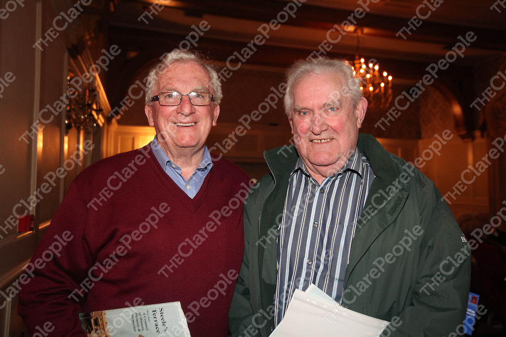 Tom Lynch and Seamus McMahon pictured at the launch of Steeles Terrace in the Old Ground Hotel Ennis on Thursday.<br /> Pic. Brian Arthur/ Press 22.