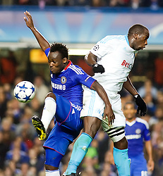 28.09.2010, Stamford Bridge, London, ENG, UEFA Champions League, Chelsea vs Olympique Marseille, im Bild Chelsea's Ghanaian footballer Michael Essien battles with Marseilles Souleymane Diawara, 28/09/2010. EXPA Pictures © 2010, PhotoCredit: EXPA/ IPS/ Mark Greenwood +++++ ATTENTION - OUT OF ENGLAND/UK +++++
