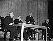 "09/10/1956<br /> 10/09/1956<br /> 09 October 1956<br /> <br /> <br /> Most Reverend Dr Bishop Lucey of Cork delivers a lecture in Fr Matthew Hall for Centenary<br /> 10/10/1956<br /> <br /> Cornelius ""Con"" Lucey (1902–82) was a Roman Catholic Bishop of Cork and Ross.<br /> <br /> Cornelius Lucey was born into a farming family at Carrigrohane, near Cork City. He studied at St Finbarr's College, Farranferris, the diocesan college. He graduated from St Patrick's College, Maynooth with BC and BCL, and obtained MAs at Innsbruck University in 1927–29 and then University College Dublin.<br /> <br /> Lucey was ordained a priest in 1927. He held the Chair of Philosophy and Political Theory at St. Patrick's College, Maynooth, from 1929 to 1950. He was one of the founders of Christus Rex, a priest's society devoted to social issues, on which he was a prominent commentator. In 1951 he was appointed bishop of the diocese of Cork, from 1958 united to the Diocese of Ross. He founded the St. Anne's Adoption Society in 1954. His outspoken sermons, often given at confirmations, made him something of a thorn in the side of the establishment. His views on matters of faith and morals were conservative, and he was involved in a controversy in the 1960s, when he withdrew the diocesan faculties of Father James Good, a lecturer at University College, Cork, for publicly dissenting from the teaching of Pope Paul VI. He started the Cork diocesan mission to Peru, and many priests from Cork ministered there from 1961.<br /> <br /> Lucey retired as bishop in 1980, in the early stages of leukemia. He went to the Turkana District in Kenya to work as an ordinary curate with Good, who had gone there some years earlier.<br /> <br /> After nearly two years in Kenya he became seriously ill. He was flown back to Cork in September 1982 and died within days.<br /> <br /> In 1985, as part of the Cork 800 festival, a site between Grand Parade and South Main Street was developed into an urban park named ""Bishop Lucey Park""."