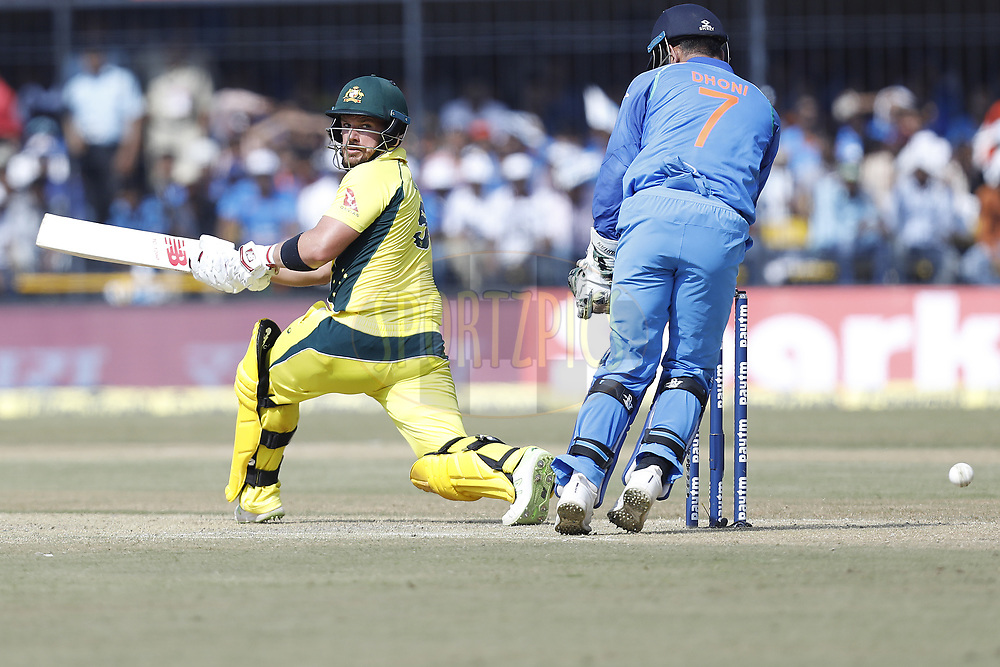 Aaron Finch of Australia plays a shot during the 3rd One Day International between India and Australia held at the Holkar Stadium in Indore on the 24th  September 2017<br /> <br /> Photo by Arjun Singh / BCCI / SPORTZPICS