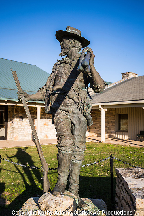 A statue of George B. Erath stands outside the Texas Ranger Hall of Fame and Museum in Waco, Erath was surveyor, solider, and legislator in the early days of Texas.
