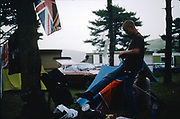 Lee and Symond in campsite in Dorset, UK, 1980s.