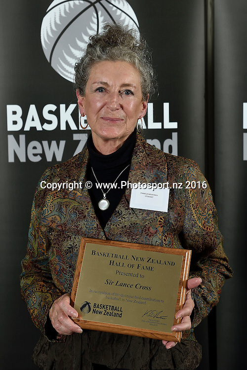 Pamela Meekings-Stewart receives a Hall of Fame plaque on behalf of her father Sir Lance Cross (deceased) during the Basketball New Zealand awards evening at the Mercure Hotel in Wellington on Friday the 20th of May 2016. Copyright Photo by Marty Melville / www.Photosport.nz