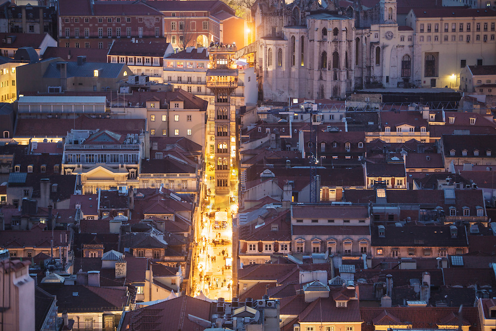 Lisbon twilight view from Saint George Castle. Santa Justa lift can be seen on the foreground.