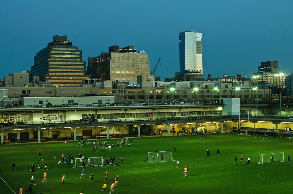 Soccer Field, Hudson River Park, Pier 40, Houston Street, Manhattan, New York City, New York, USA