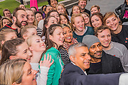 Taking a group selfie - The Mayor of London Sadiq Khan joined choreographer Akram Khan (R) and Londoners as they warmed-up at City Hall for the international Big Dance Pledge. On Friday 20 May, over 40,000 people in 43 countries around the world will take part in the Big Dance event, which has been specially choreographed by Akram Khan. Among the Londoners were: Students from University of Roehampton; MovE17 community group; Children from John Scurr Primary School; and the Croydon Community Dance group. This year is the finale of Big Dance, celebrating ten years of grassroots and community dance.